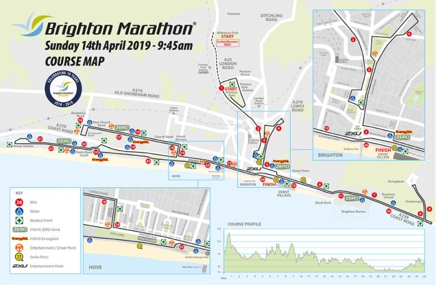 Map of Brighton Marathon